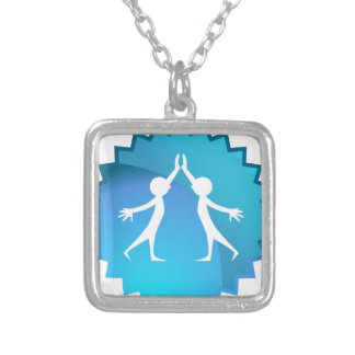 Friends Giving Each Other a High Five Square Pendant Necklace