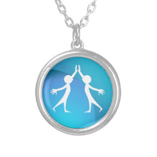 Friends Giving Each Other a High Five Round Pendant Necklace