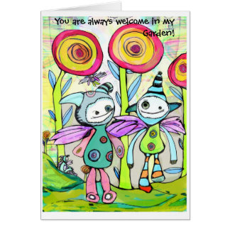 Friends in a Pixie Garden Greeting Card