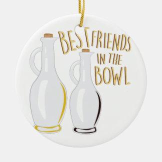 Friends In Bowl Ceramic Ornament