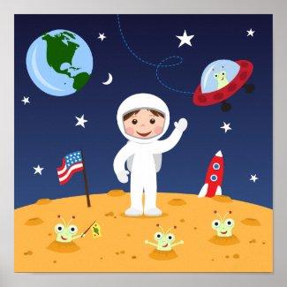 Friends in space, cute kids cartoon wall art