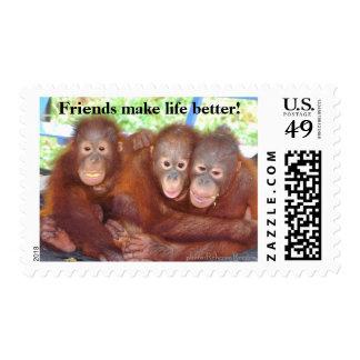 Friends Make Life Better Orangutans Postage