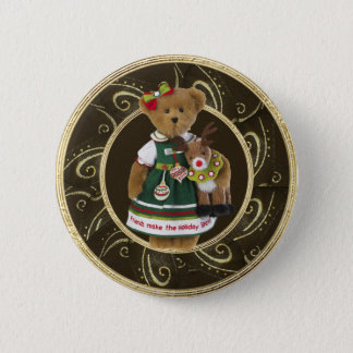 Friends Make the Holiday Sparkle Bear Button