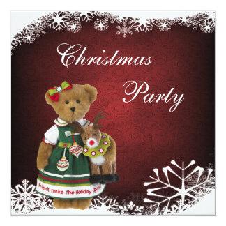 Friends Make the Holiday Sparkle Christmas Bear Invitation