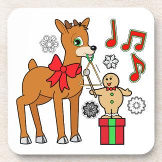 Friends,Music:Christmas Gingerbread Boy &Reindeer Coaster
