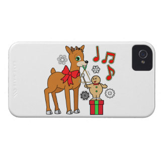 Friends,Music:Christmas Gingerbread Boy &Reindeer iPhone 4 Case-Mate Case