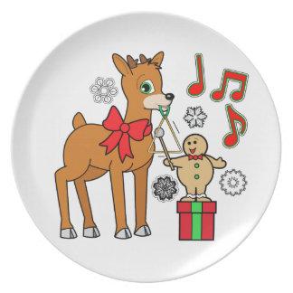 Friends,Music:Christmas Gingerbread Boy &Reindeer Melamine Plate