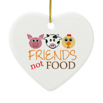 Friends Not Food Ceramic Ornament