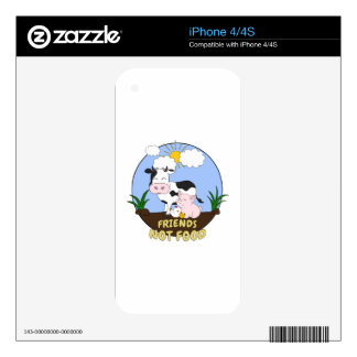 Friends Not Food - Cute Cow, Pig and Chicken iPhone 4 Skins