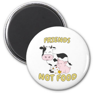 Friends Not Food - Cute Cow, Pig and Chicken Magnet