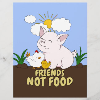 Friends Not Food - Cute Pig and Chicken