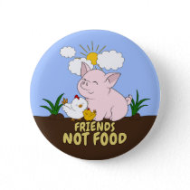Friends Not Food - Cute Pig and Chicken Pinback Button