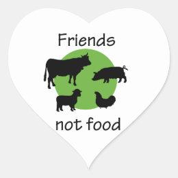 Friends, Not Food Heart Sticker