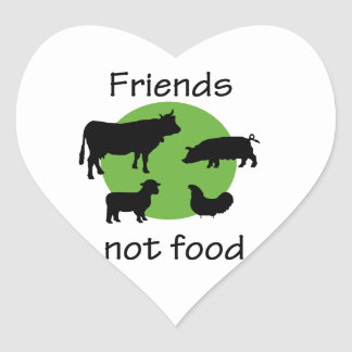 Friends, Not Food Heart Sticker
