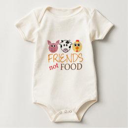 Friends Not Food Organic Baby Bodysuit