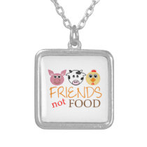 Friends Not Food Silver Plated Necklace