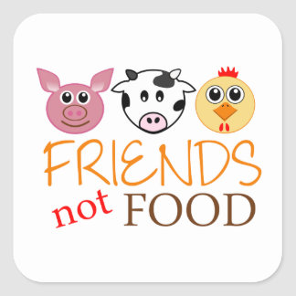 Friends Not Food Square Sticker
