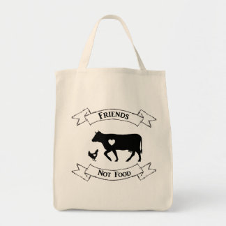 """Friends Not Food"" Vegan Grocery Tote"