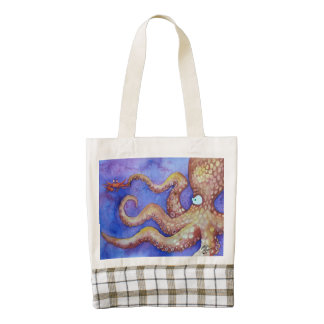 """Friends"" Octopus & Crab, Fish with Attitude Zazzle HEART Tote Bag"