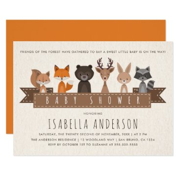 Toddler & Baby themed Friends of the Forest Woodland Animals Baby Shower Card