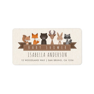 Friends of the Forest Woodland Animals Baby Shower Label