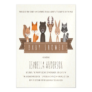 Friends of the Forest Woodland Animals Baby Shower Magnetic Card