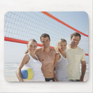 Friends on beach volleyball court mouse pad