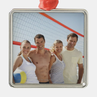 Friends on beach volleyball court christmas ornaments