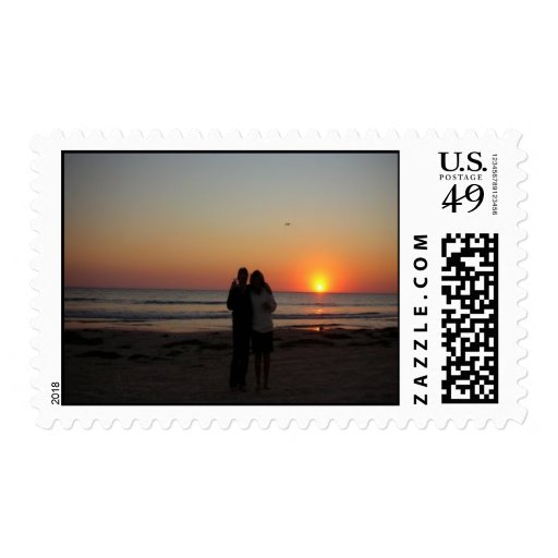 Friends on the beach postage stamp