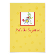 Friends Party Invitation Red Ladybug Daisy Flower