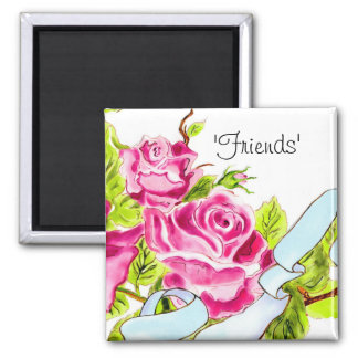 """Friends"" Ribbon and Roses Floral Magnet"