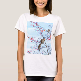 Friends - Squirrel and Bird Friends Eating Berries T-Shirt