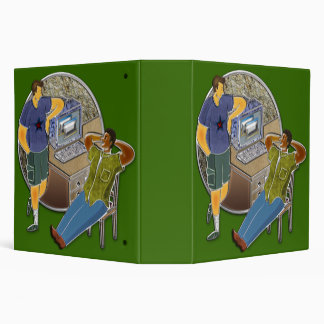 Friends talking at desk by computer stone wall binder