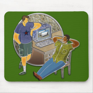 Friends talking at desk by computer stone wall mouse pad