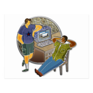 Friends talking at desk by computer stone wall postcard