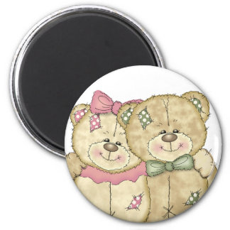 Friends Teddy Bear Pair - Original Colors 2 Inch Round Magnet