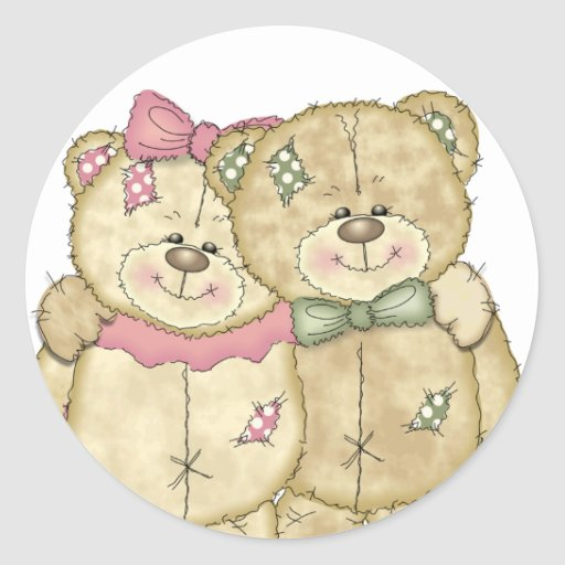 Friends Teddy Bear Pair - Original Colors Classic Round Sticker
