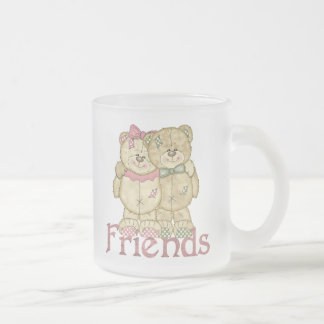 Friends Teddy Bear Pair - Original Colors Frosted Glass Coffee Mug