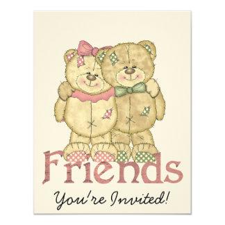 "Friends Teddy Bear Pair - Original Colors 4.25"" X 5.5"" Invitation Card"