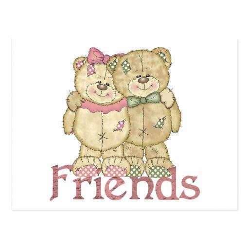 Friends Teddy Bear Pair - Original Colors Postcard