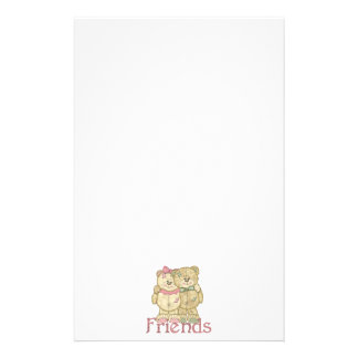 Friends Teddy Bear Pair - Original Colors Stationery