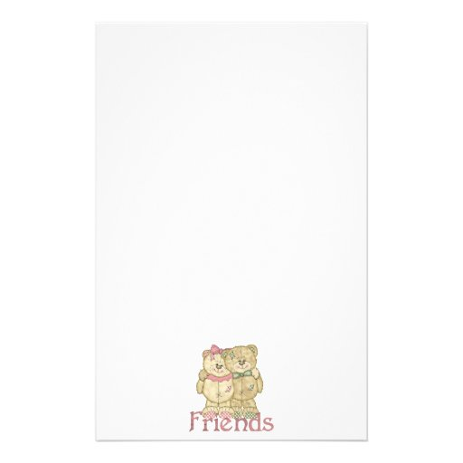 Friends Teddy Bear Pair - Original Colors Stationery Design