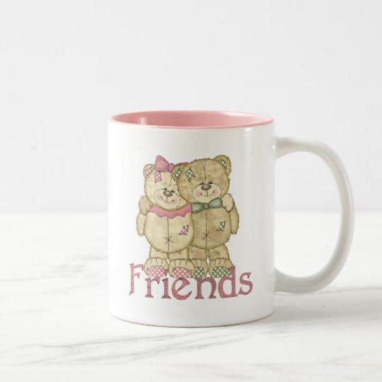 Friends Teddy Bear Pair - Original Colors Two-Tone Coffee Mug