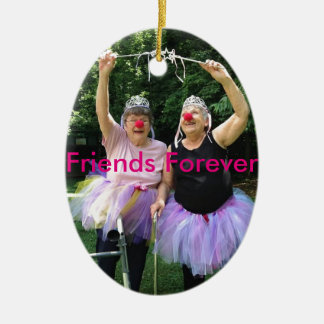 Friends + Tutus = Fun Times Double-Sided Oval Ceramic Christmas Ornament