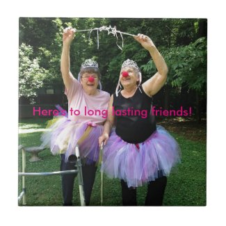 Friends + Tutus = Fun Times Small Square Tile