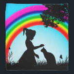 """Friends Under The Rainbow Bandana<br><div class=""""desc"""">Beautiful girl and cat image with a rainbow in the background. In order to have friendship you must look past the color to the soul,  because within the soul lies a rainbow of many colors.</div>"""