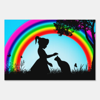 Friends under the Rainbow Lawn Sign