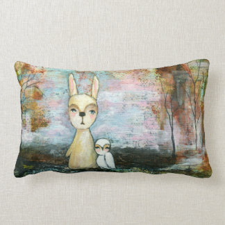 Friends Whimsical Rabbit Owl Trees Abstract Art Pillows