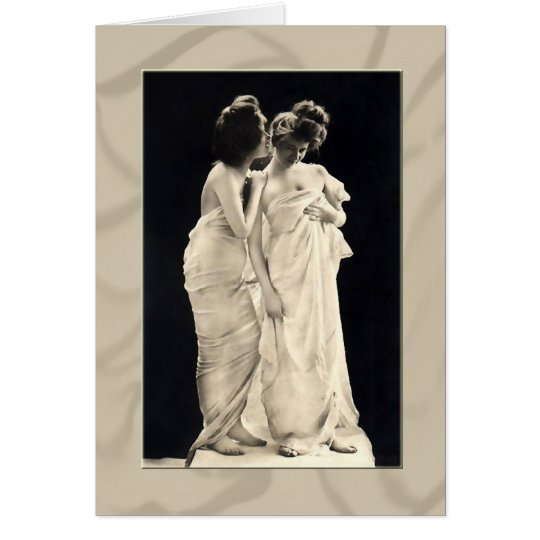 Friends whispering secrets  Victorian image Card