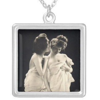 Friends whispering secrets  Victorian image Silver Plated Necklace